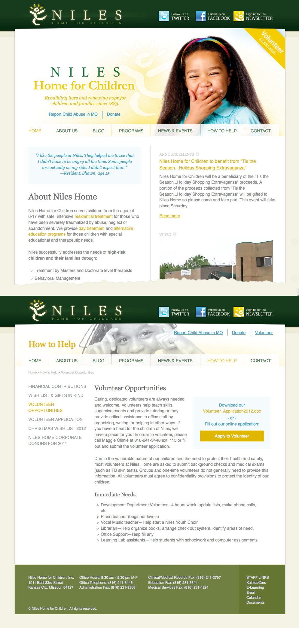 Niles Home for Children website